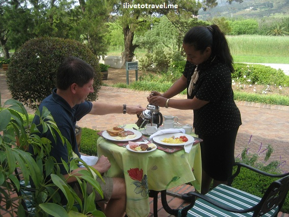 Enjoying breakfast at The Courtyard outside of Cape Town, South Africa