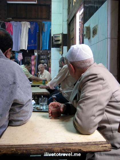 Tea drinking at Khan el-Khalili, the suk in Cairo, Egypt