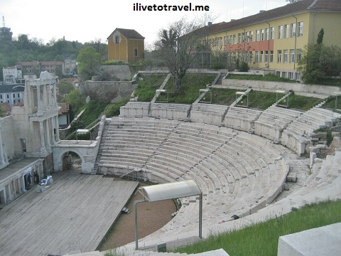 Ruins of a Roman theater in Plovdiv, Bulgaria