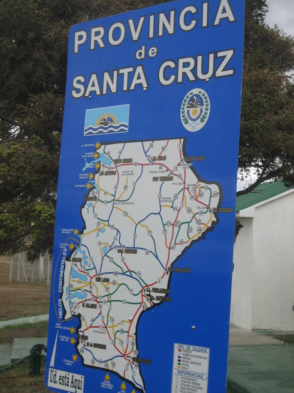 Map of the province of Santa Cruz, Argentina with El Calafate and Perito Moreno
