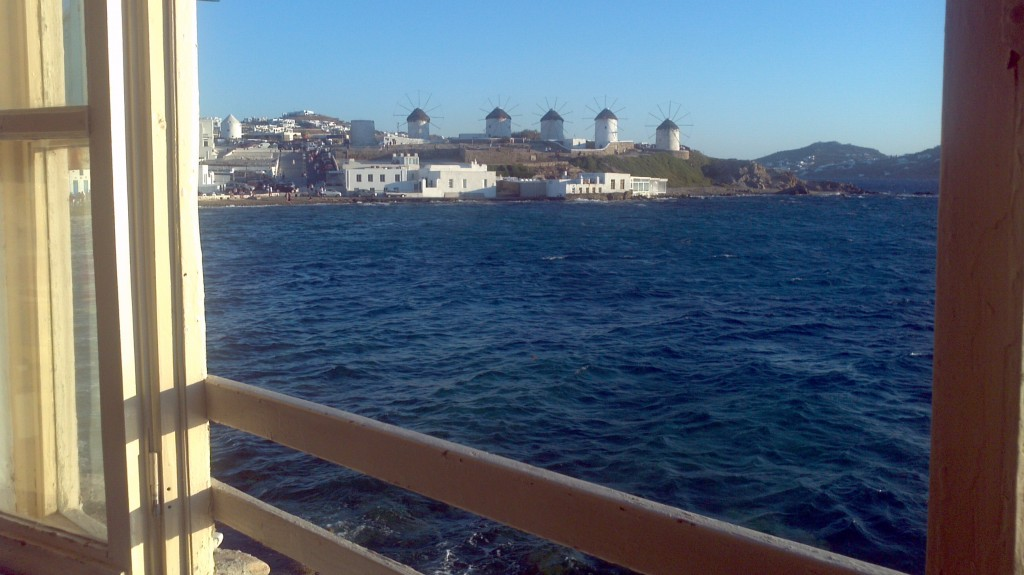 View from Little Venice of the windmills, Mykonos, Greece