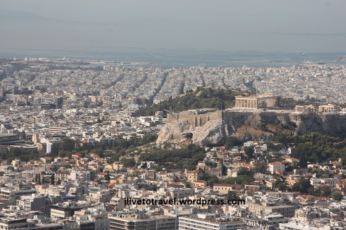 The Acropolis from Lycabettus Hill in Athens, Greece