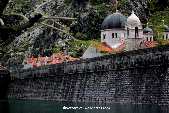 View of Kotor city walls and churches in Montenegro