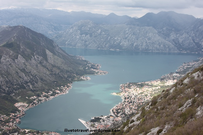 View from Luvcen mountain of Kotor Bay, Montenegro
