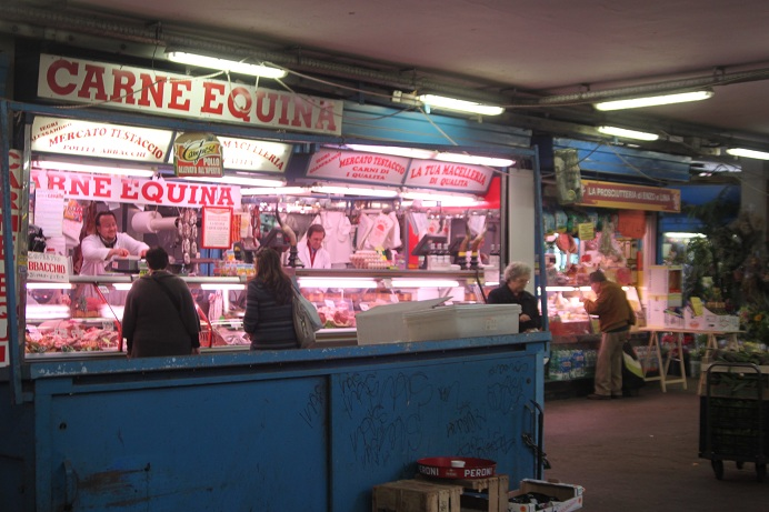 Horse meat at the food market at the Testaccio