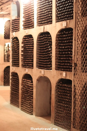 Wine cellar wall in the tunnels of Milestii Mici winery in Moldova