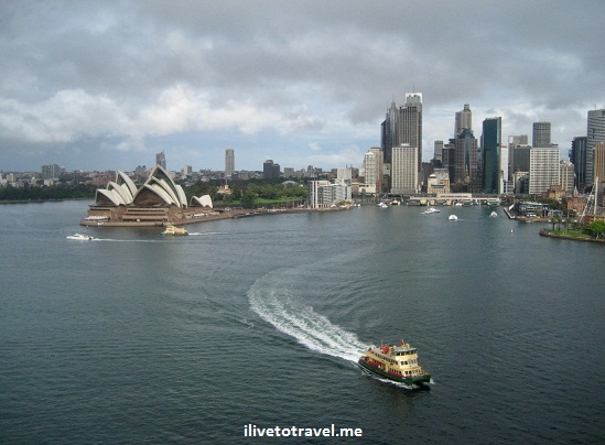 Sydney Harbor from Sydney Bridge in Australia