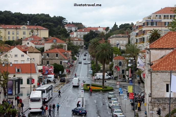 The main bus stop area outside of Pile Gate in Dubrovnik, Croatia