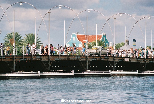 "The Queen Emma ""floating"" bridge in Willemstand, Curacao is for pedestrians"