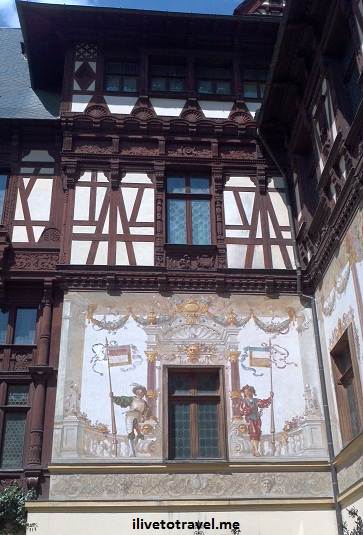 Great architecture at Peles Castle in Transylvania, Romania