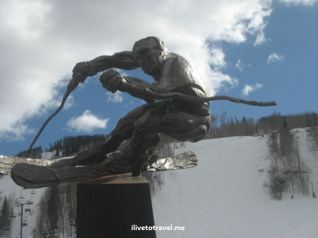 Statue of skier in Vail, Colorado