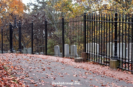 Cemetery where Thomas Jefferson is buried in Monticello on a fall day