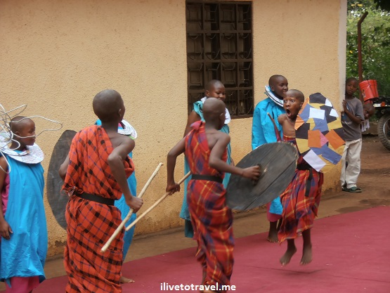 Kili Centre kids show us traditional Masai dance at the Kili Centre in Moshi, Tanzania