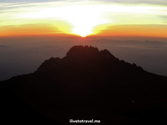 Sunrise from Kilimanjaro as we neared Stella Point
