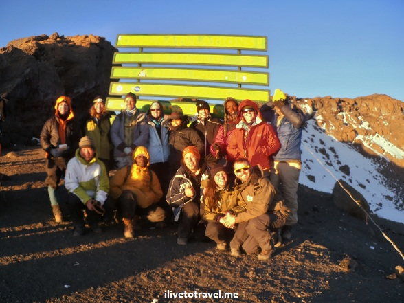 Some of the trekkers and guides at Stella Point on Kilimanjaro