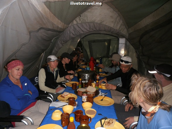 Dining tent in Kilimanjaro camp