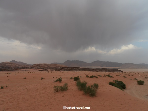 Rain storm Wadi Rum desert Jordan outdoors unusual travel nature adventure Olympus